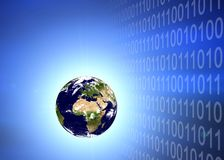 Earth planet in binary code Stock Images