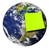 Earth Planet Blank Post-it Isolated Stock Photo