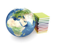 Earth planet and books Royalty Free Stock Image