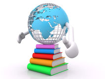 Earth planet and books Royalty Free Stock Photo