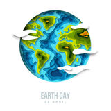 Earth planet with clouds, 3d paper cut design Stock Photography