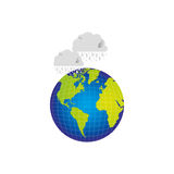 earth planet with clouds rainning icon Royalty Free Stock Images