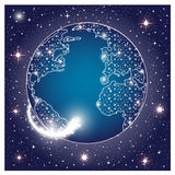 Earth planet in dark space with glowing sparkle stars. Vector illustration. Space concept Stock Photography