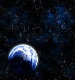 Earth planet in deep outer space Stock Images