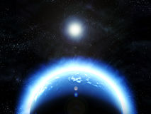 Earth planet in deep outer space Royalty Free Stock Images