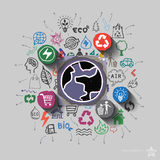 Earth planet. Environment collage with icons background Royalty Free Stock Images