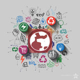 Earth planet. Environment collage with icons background Stock Photos