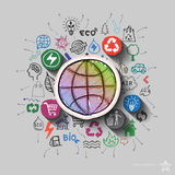 Earth planet. Environment collage with icons background Royalty Free Stock Photos