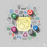 Earth planet. Environment collage with icons background Royalty Free Stock Photography