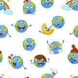 Earth planet expressing emotions emojis seamless pattern vector Stock Photos