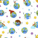Earth planet expressing emotions emojis seamless pattern vector. Angry and sad, confused and happy, furious and puzzled globe, temperature thermometer royalty free illustration