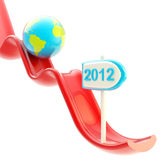 Earth planet on falling graph downfall. As illustration of economical crisis and depression Stock Image