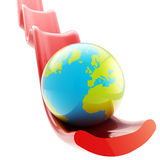 Earth planet on falling graph downfall. As illustration of economical crisis and depression Royalty Free Stock Photo