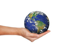Earth planet in female hand isolated on white Royalty Free Stock Image