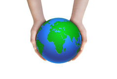 Earth planet in female hands Stock Photo