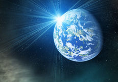 Earth planet with flash on cosmos stars backgrounds Royalty Free Stock Photo