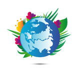 Earth planet with flowers on white background. Earth day. Vector. Blue earth planet with flowers and plants behind on white background with shadow. Earth day Stock Images