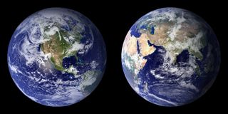 Earth, Planet, Front Side, Back Stock Photography