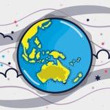 Earth planet in the galaxy orbit sky. Vector illustration Stock Photos