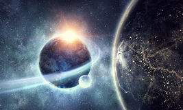 Earth planet and galaxy. Planets of galaxy. Elements of this image are furnished by NASA royalty free stock image