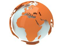 Earth planet globe. 3D render. Africa view. On white background Royalty Free Stock Images