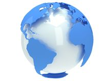 Earth planet globe. 3D render. America view. Royalty Free Stock Photos