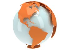 Earth planet globe. 3D render. America view. Royalty Free Stock Image