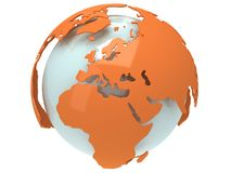 Earth planet globe. 3D render. Europe view. Royalty Free Stock Photo
