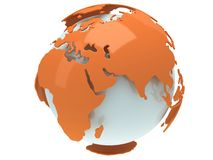 Earth planet globe. 3D render. India view. Stock Photo