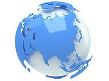 Earth planet globe. 3D render. Russia view. Stock Images