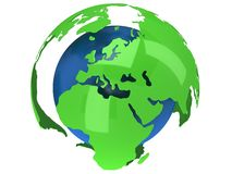 Earth planet globe. 3D render. Africa view. Earth planet globe. 3D render Africa view on white background Royalty Free Stock Photo