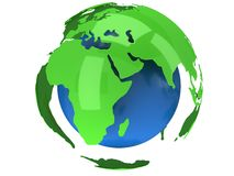 Earth planet globe. 3D render. Africa view. Stock Photos