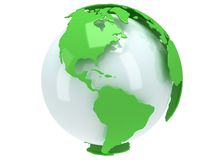 Earth planet globe. 3D render. America view. Royalty Free Stock Photo