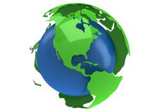 Earth planet globe. 3D render. America view. Royalty Free Stock Images