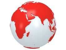 Earth planet globe. 3D render. India view. Royalty Free Stock Photography