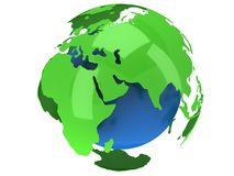 Earth planet globe. 3D render. India view. Royalty Free Stock Photos