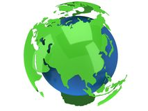 Earth planet globe. 3D render. Russia view. Royalty Free Stock Image