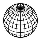 Earth planet globe grid of black thick meridians and parallels, or latitude and longitude. 3D vector illustration.  stock illustration