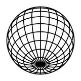 Earth planet globe grid of black thick meridians and parallels, or latitude and longitude. 3D vector illustration.  royalty free illustration