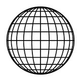 Earth planet globe grid of black thick meridians and parallels, or latitude and longitude. 3D vector illustration.  vector illustration