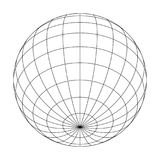 Earth planet globe grid of meridians and parallels, or latitude and longitude. 3D vector illustration.  Royalty Free Stock Photography