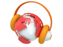 Earth planet globe with headphone. 3D render. Royalty Free Stock Photography