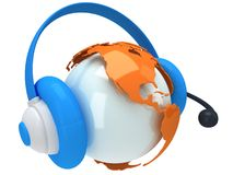 Earth planet globe with headset. 3D render. Royalty Free Stock Image