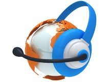 Earth planet globe with headset. 3D render. Royalty Free Stock Photos