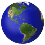 Earth planet globe map. Side of the North and South America Stock Image