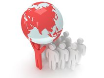 Earth planet globe and people. 3D render. Royalty Free Stock Photography