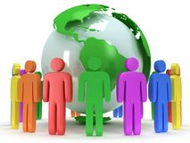 Earth planet globe and people. 3D render. Royalty Free Stock Images