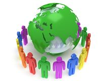 Earth planet globe and people. 3D render. Stock Image