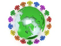 Earth planet globe and people. 3D render. Stock Images