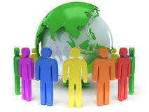 Earth planet globe and people. 3D render. Stock Photos